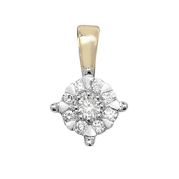 Pendentif Femme Or 375-1000 et Diamant Brillant 0.18 Carat G - I1 I2 - 13mm*8mm 29525