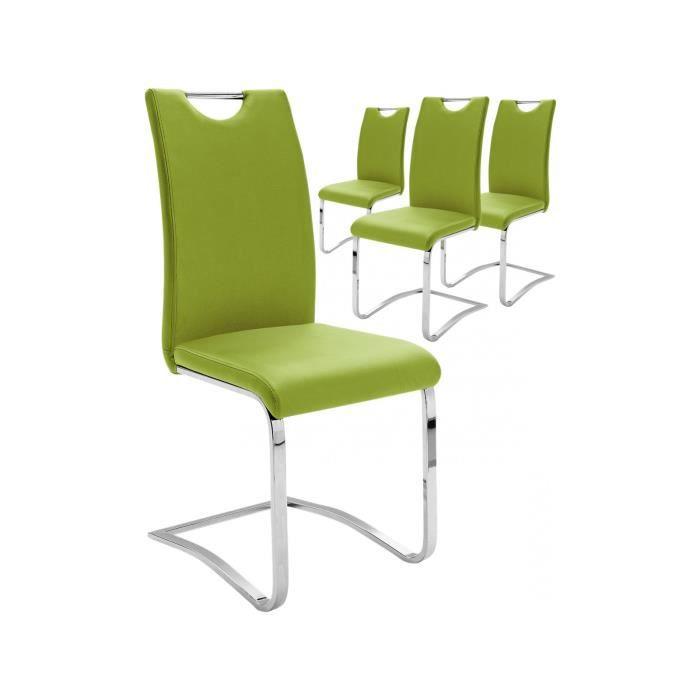 CHAISE Lot De 4 Chaises Vert Pomme Design En Polyester Av