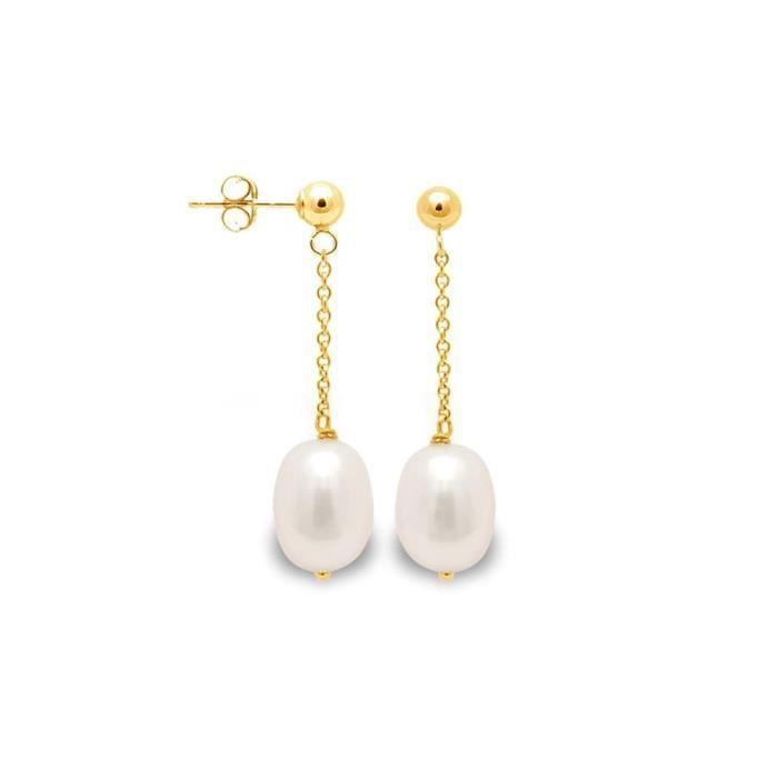 Boucles dOreilles Pendantes Perle de Culture Blanche et or jaune 750/1000 - Blue Pearls