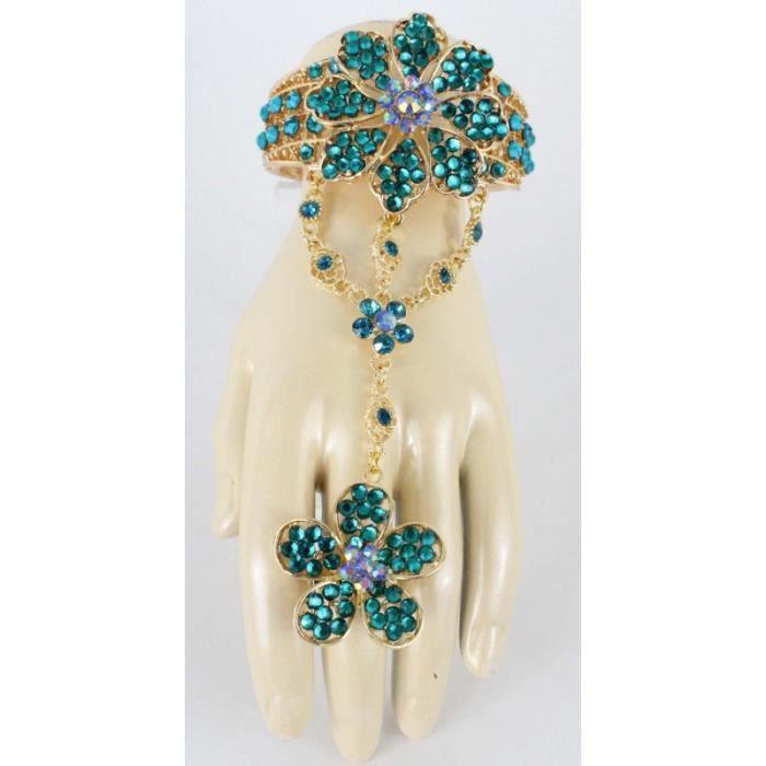 Parure de main turquoise en fleur plaqué or bijou oriental - Achat ... 5de41b9d6929