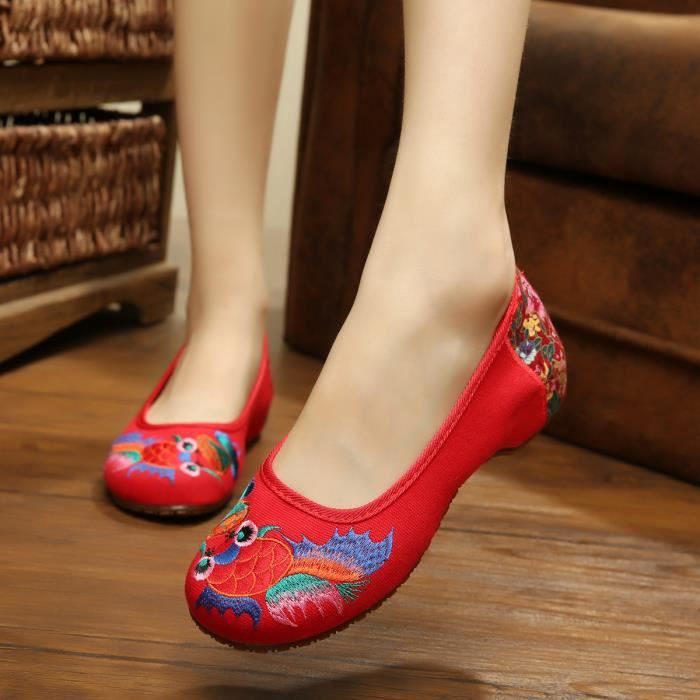 Femme chaussures chaussures brodées Rouge