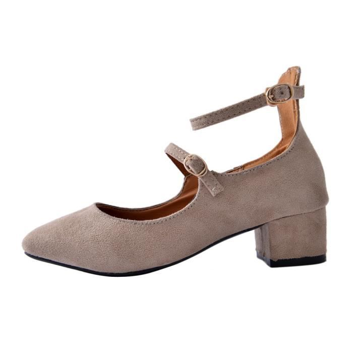 Femme Chaussure Escarpin Fille Suede Boucle Chaussure Pure Couleur HEE GRAND
