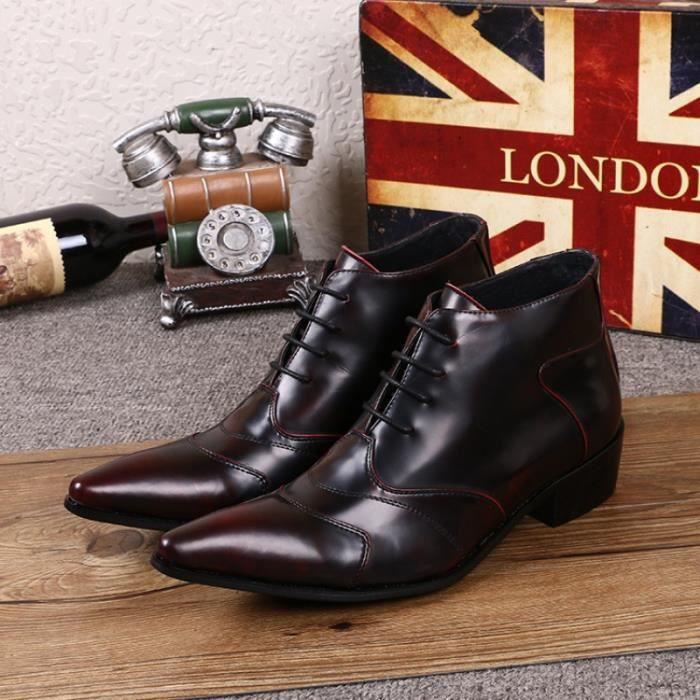 2016 nouveau cuir véritable lacent Oxford Chaussures formelle Hommes Bottines Taille bout pointu croissante à talon pour
