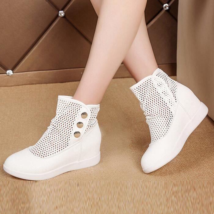 Bottes respirantes creuses sauvages décontractées au sein de Chaussures de femmes augmentent blanc j3BCU2ZM3a