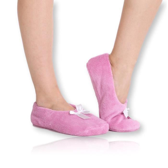 Fuzzy Corail mou Pantoufles en polaire - Slip House chaussons pour adultes, femmes, filles D9TMV Taille-S