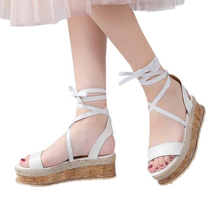 Compensées Femmes Étanche À forme Mesdames Spartiates Épais Sandales Blanc Plate Fond Tissée aOHgAq