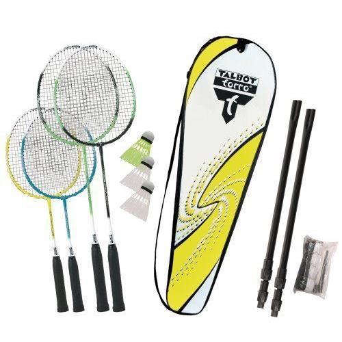 Talbot Torro Family Set de badminton avec filet télescopique 449516 Jaune/Blanc