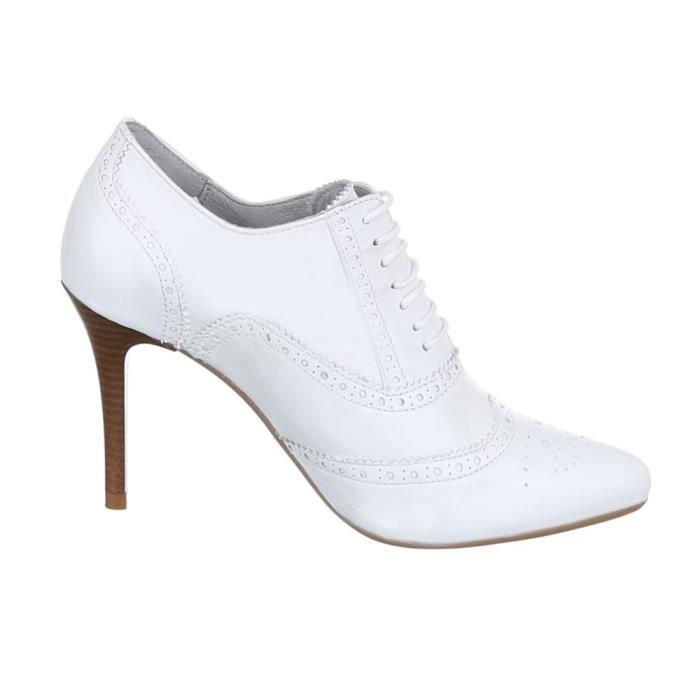 Chaussures femmes Bottine cuir Talon haut Escarpins blanc