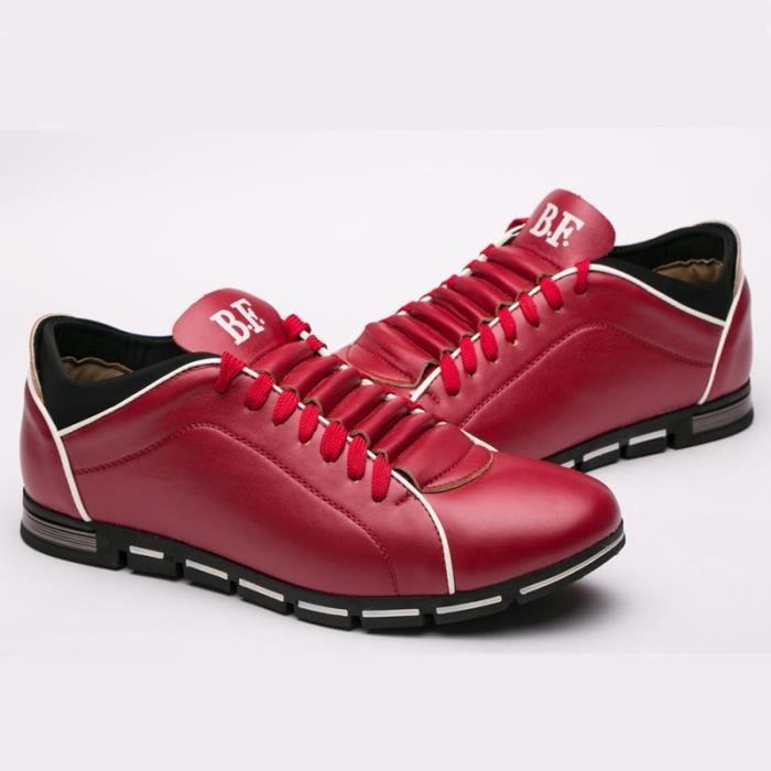 Marque New Style rétro style Chaussures hommes, de haute qualité homme Souliers simple, Derbies Casual Hommes,rouge,47