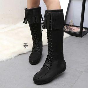 Bottes d'hiver des femmes bottes gland chaud mi-mollet bottes chaudes chaussures d'hiver Gris WE916 TLokS