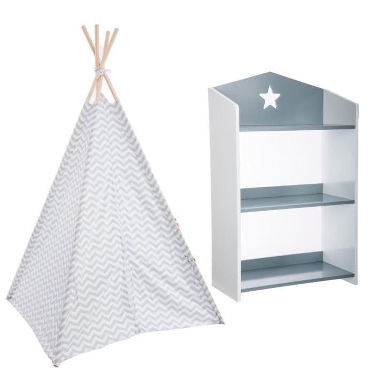 Tipi décoration gris H160 Pour Enfant + Bibliothèque étoile grise ...