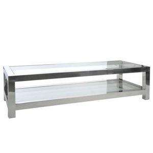 TABLE BASSE Table Salon Acier Inox/Verre Argent 160X60X40Cm J-
