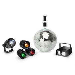 BOULE A FACETTES Pack lumière Spot à LED + Boule à facettes 15cm +