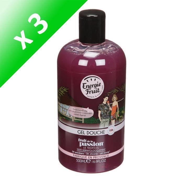 ENERGIE FRUIT Gel douche FRUIT de la Passion - 500 ml (Lot de 3)
