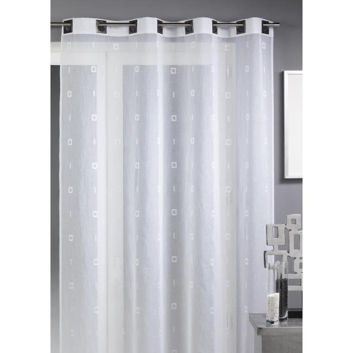 Voilage - Blanc - 140x260cm - 100% Polyester -8 Œillets carrés bronze - Vendu à l'unité - Prêt à poserVOILE - VOILAGE