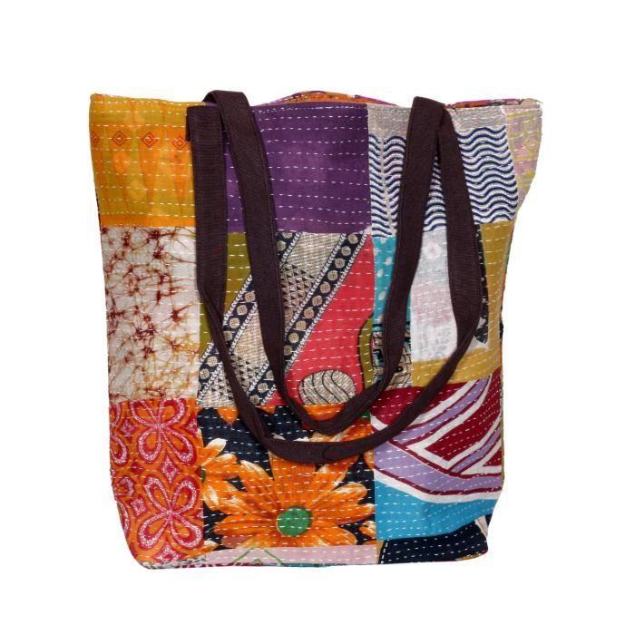 femmes vintage coton kantha travail toile poignée sacs à bandoulière à la main A1BNV