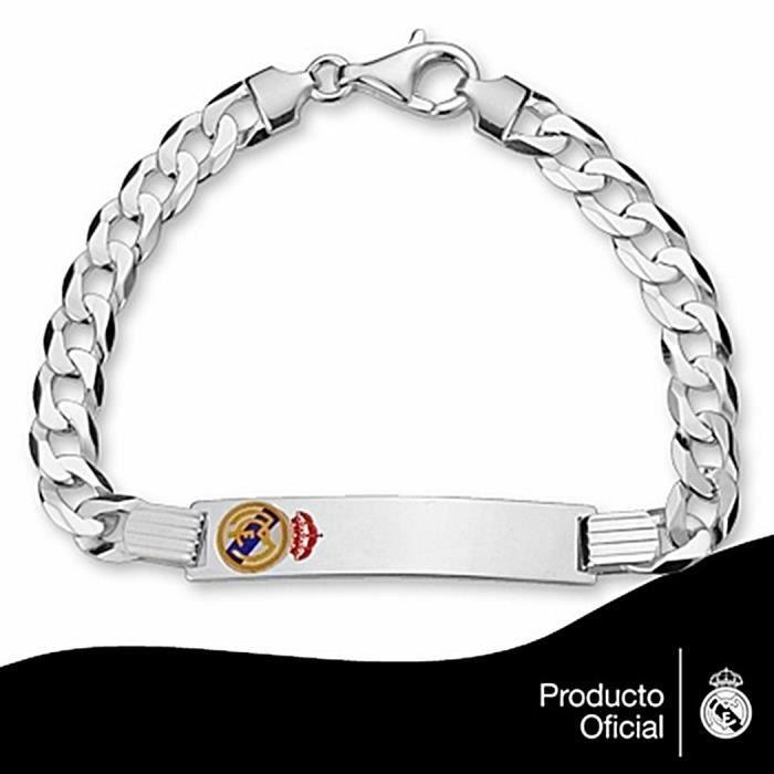 Cha nette cusson real madrid argent massif pour homme mail achat vente bracelet - Ecusson du real de madrid ...