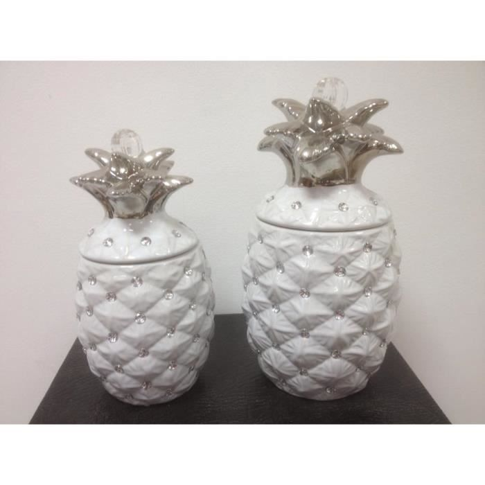 Ananas a strass blanc achat vente objet d coratif for Objet deco ananas