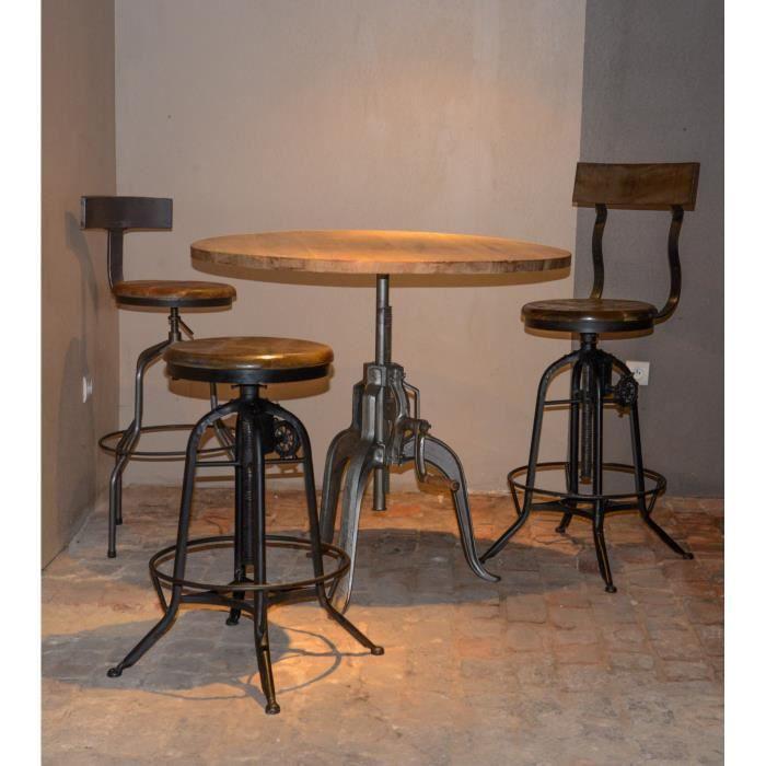 table bar industrielle a manivelle r glable atelier grey 39 meuble house gris achat vente. Black Bedroom Furniture Sets. Home Design Ideas