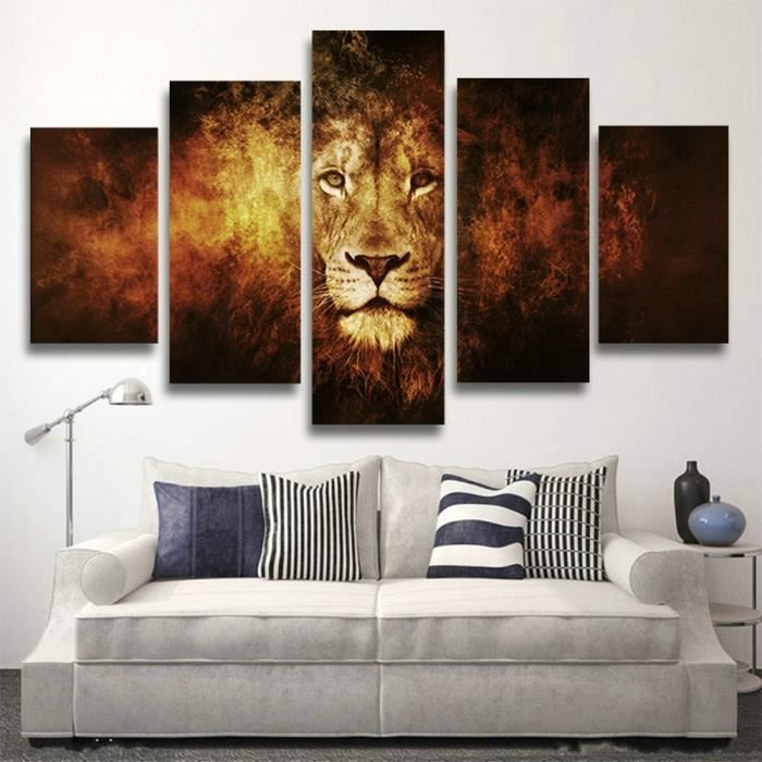 5pcs non cadre no inner framed moderne art africain tiger peintures art toile de peinture l. Black Bedroom Furniture Sets. Home Design Ideas