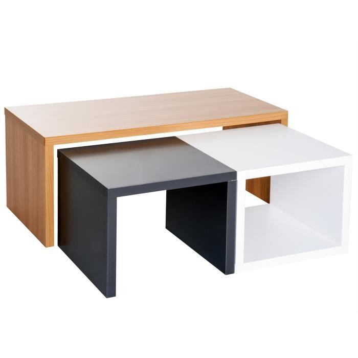 Hêtre De Cm 110x50x45cm 3 45h 40h Et Tables Noir Coloris 33 X Gigognes Encastrables 110l Lot Blanc 50l Basses FK1Jcl