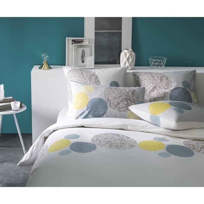 housse de couette gris bleu achat vente housse de. Black Bedroom Furniture Sets. Home Design Ideas