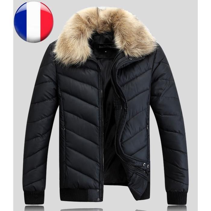 Hiver Manteau Xl Warm Fermeture Éclair Thermo Poches Debout Doudoune VestecolorNoirSize Longues Mode Manches Automne Col Avec Homme 5j3ALqR4