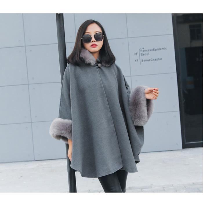 f1882d25eb3d GLAM®les femmes l hiver long manteau cape châles manteau laine cols ...