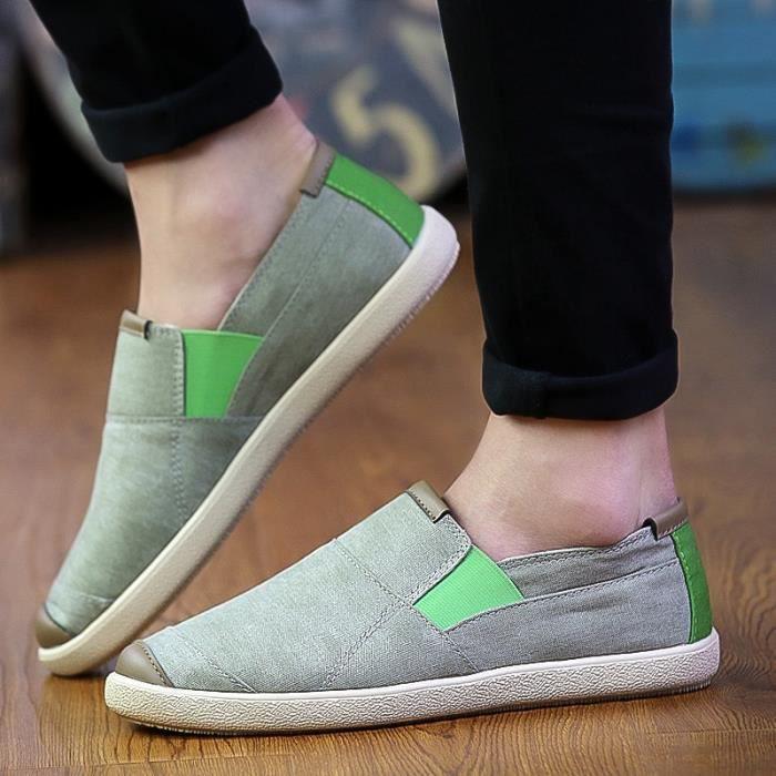 Nouveau Hommes Chaussures pour homme Flats toile Souliers Hommes Chaussures d'été confortable Mocassins Flats Slip Shoes,bleu,42
