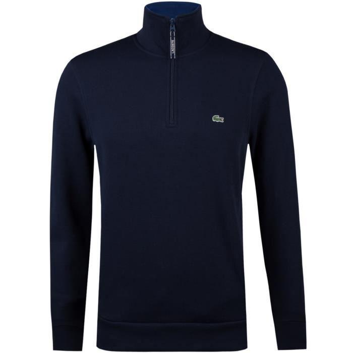 958cc98ee5 Lacoste Sweatshirt Col Montant Zippé à cotes plates Bleu marine ...