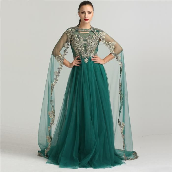 e9c17229a8a Robes de Soirée Broderie Arabe Musulman Sans Manches Cristal Amovible Châle  Formelle Robe Dubaï 32-50 Foncé Vert