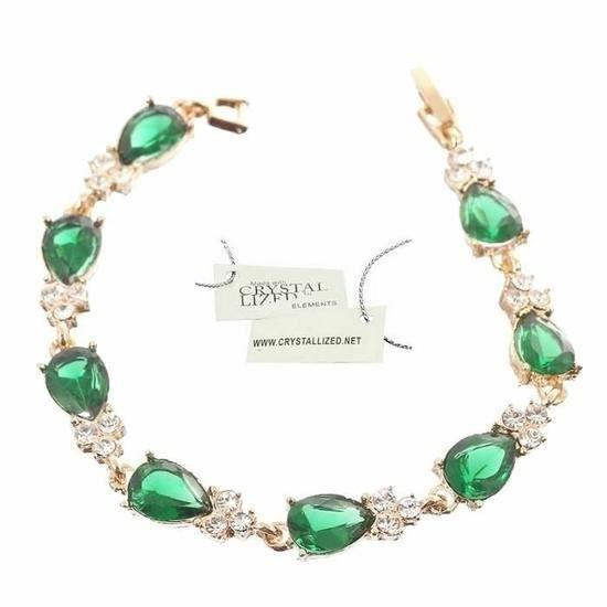 AO Bracelet Souple Cristaux Goutte Swarovski Elements Vert