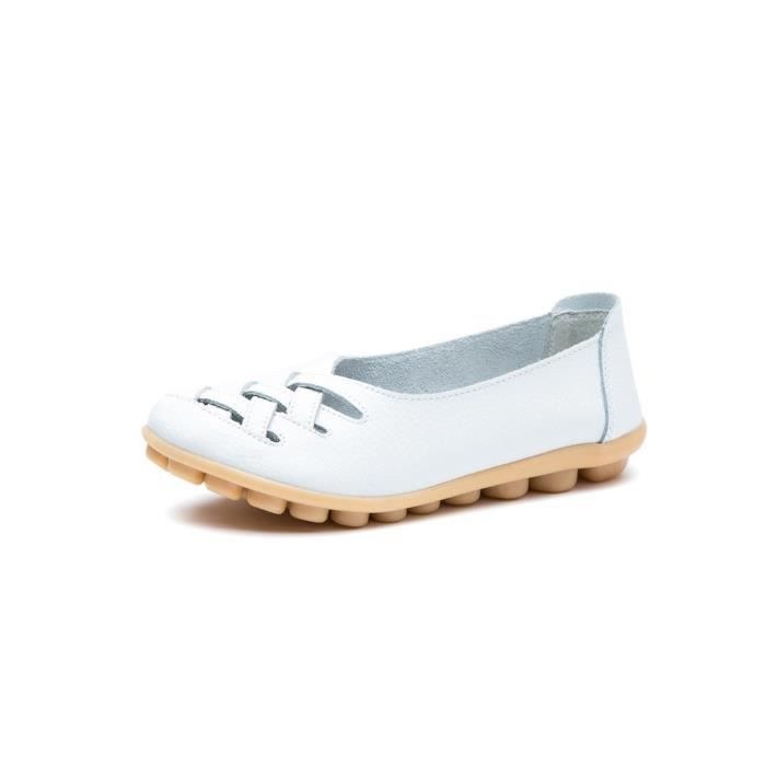 Women's Casual Leather Loafers Hollow Out Sandal Slip-on Flats Shoes F7UU4 Taille-40