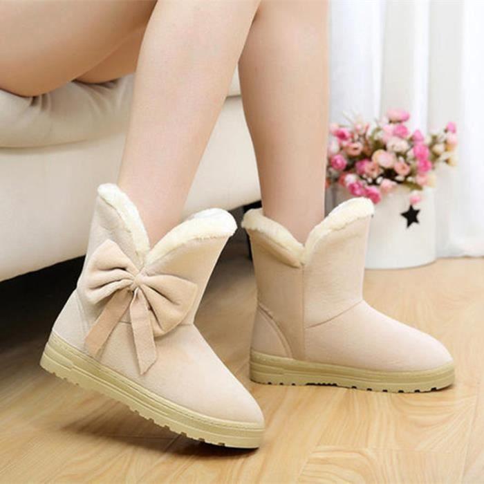 papillon Flock 42 de cheville Chaud taille femmes épaisses bottes Hiver Chaussures Plus Noeud neige plus la 35 Uwqx8npB