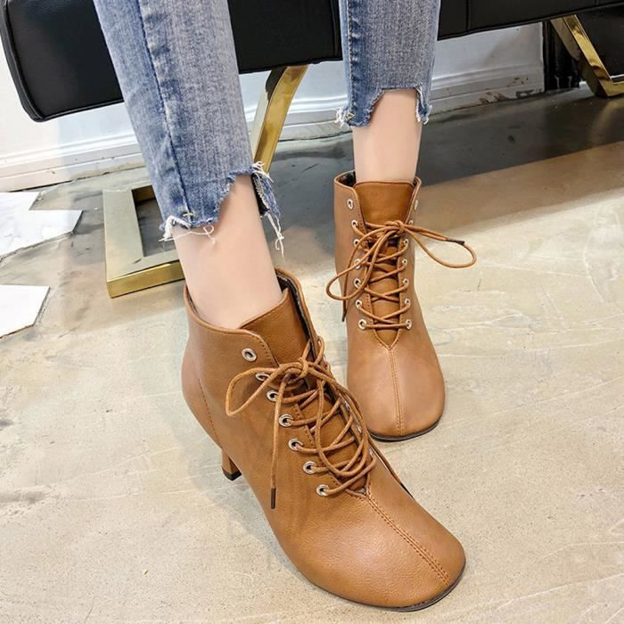Shoes Solide Chaussures En À Toe Femmes Martain Carré Cuir Marron Lacets Talon Botte Couleur px7dd4wq