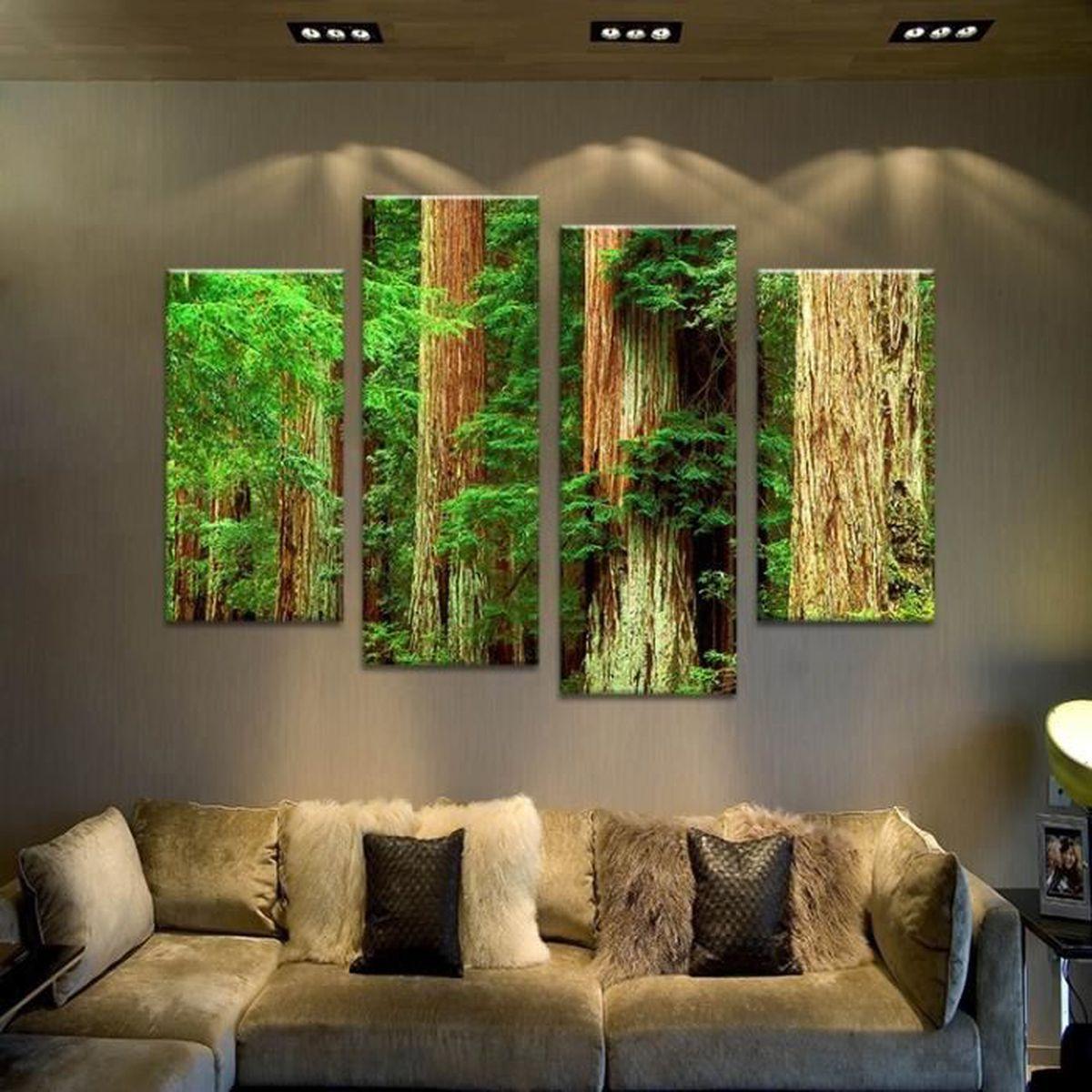 4pcs ancienne peinture murale paysage arbre cru imprimer sur toile pour les peintures de. Black Bedroom Furniture Sets. Home Design Ideas
