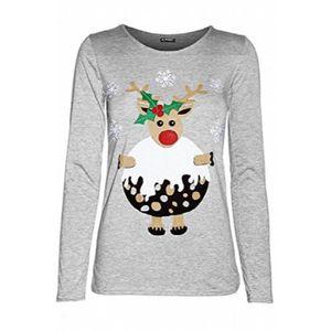 b3e3a6400e948 T-SHIRT Manches longues renne de Noël Pudding Snowflakes T