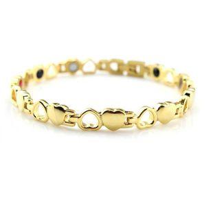 BRACELET - GOURMETTE Bracelet magnétique chaîne de cœurs or
