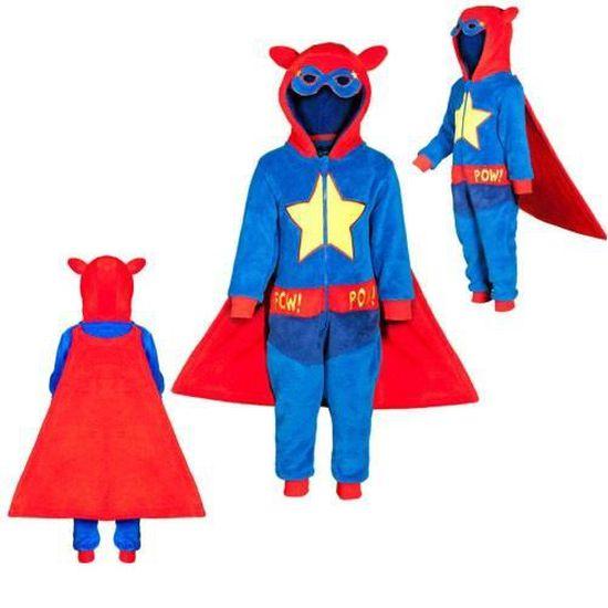5984d52b2a740 Combinaison polaire SUPER HEROS surpyjama enfant garçon bleu - Achat ...