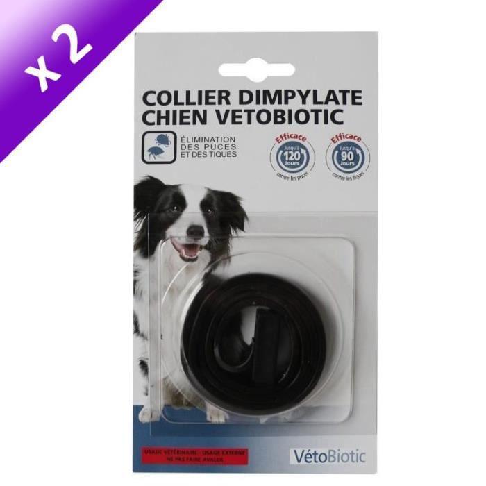 Lot de 2 - VITALVETO Collier antiparasitaire 120j - Noir - Pour chien