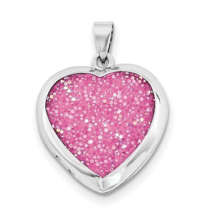 23 mm Cristal Rose Argent 925/1000 poli-Médaillon en forme de cœur