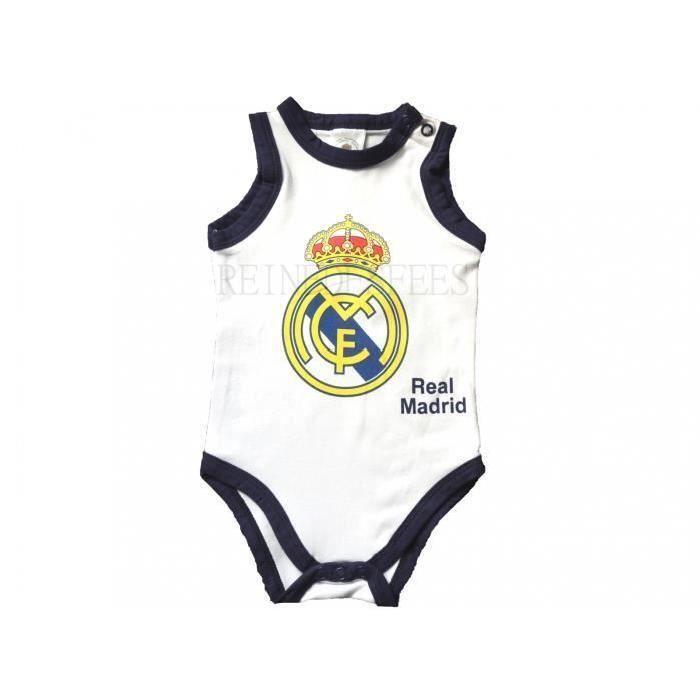 Body bébé débardeur REAL MADRID 24 mois logo du club joli bodie blanc marin  sans manches 2 ans fans foot Ronaldo idée cadeau naissa e43701dce83