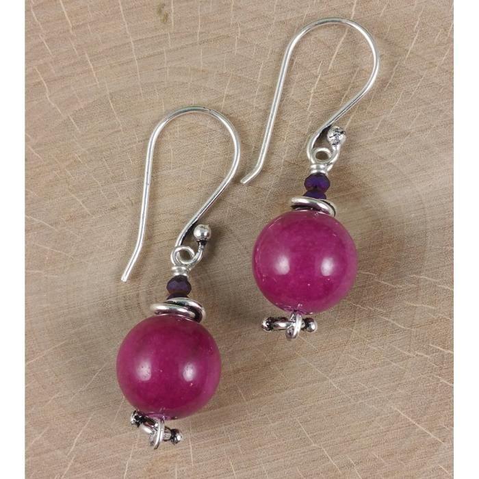 Craze Boucles doreilles Argent Cranberry Violet Sucrerie Jade Sterling Avec Gemstones Cristaux