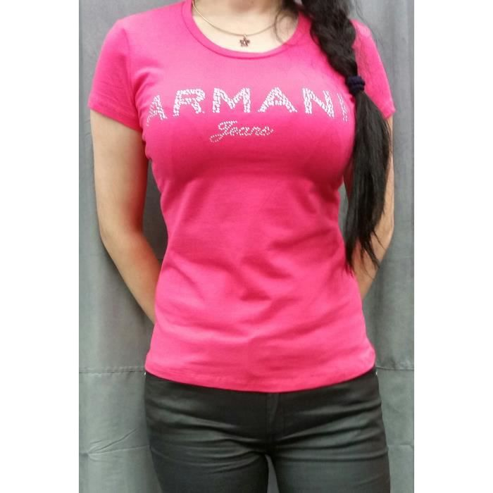 Rose Armani Shirt Manches Femme Jeans Courtes Tee Achat O1YwZqf