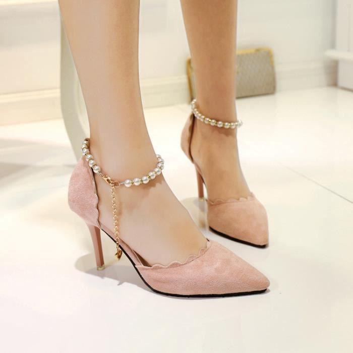 Printemps nouvelles chaussures en daim perles boucle de mot coréenne sauvages fine pointe de la mode