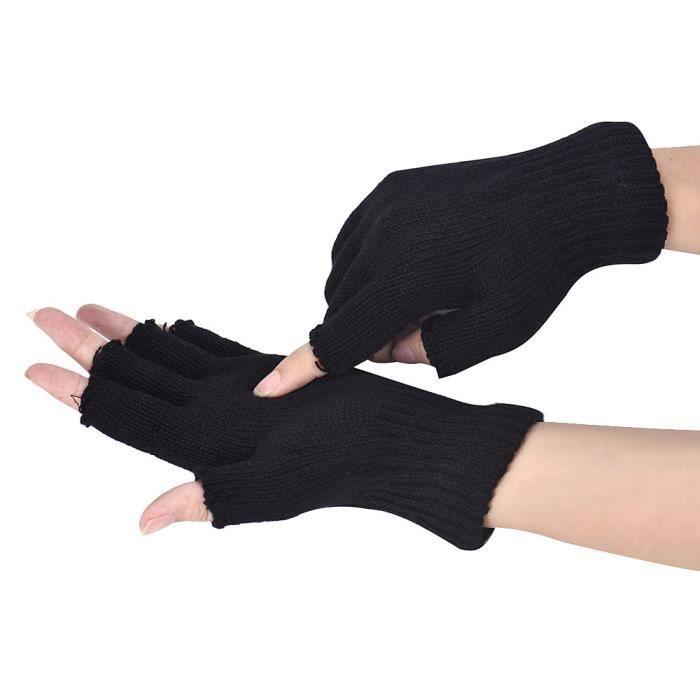 e5f447e1ad77f Les hommes noirs ont tricoté des gants sans doigts élastiques chauds ...