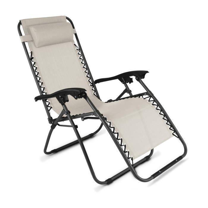 Fauteuil de jardin pliant relax Taupe - Achat / Vente chaise longue ...