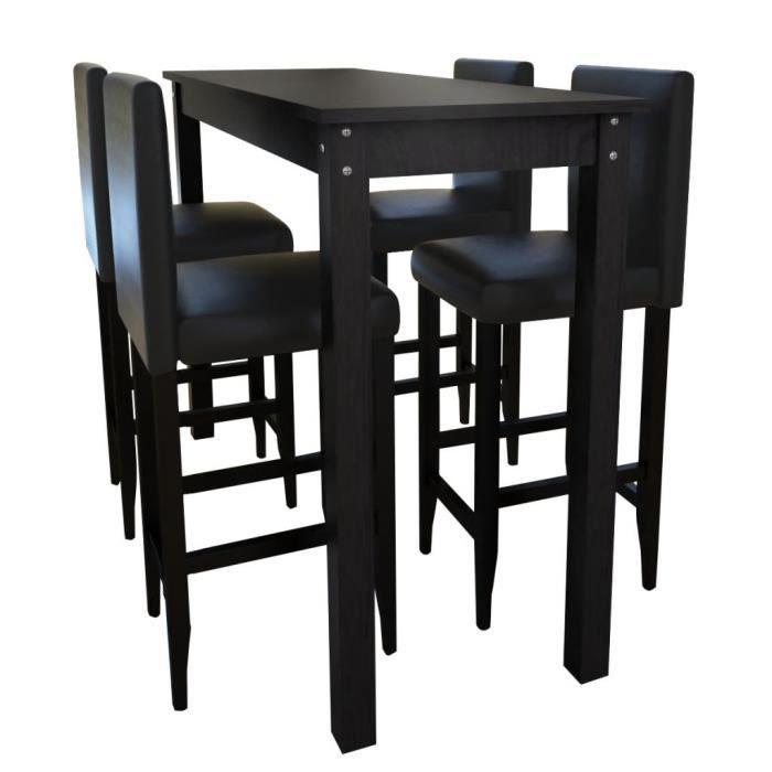 Set de 1 table de bar et 4 tabourets Ensemble de Table et Chaise Salon de  jardin Meuble noir