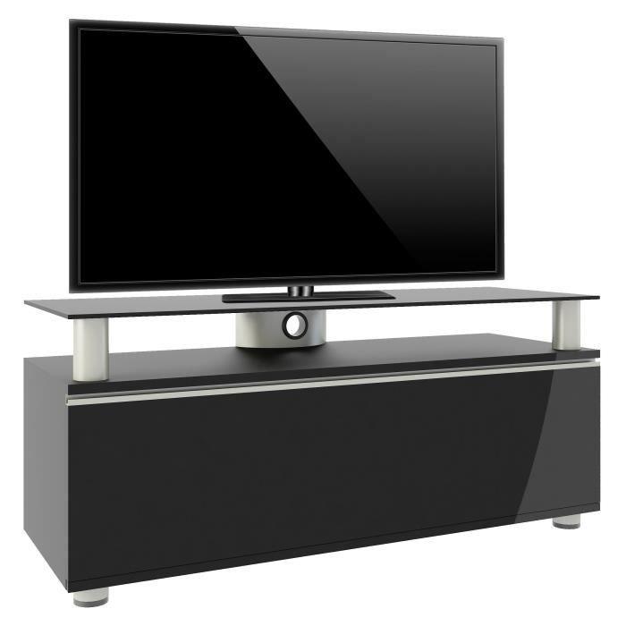 Vcm 14245 Clano Meuble Tv Avec Porte Pliante Roulettes Incluses Mdf Aluminium Verre Laqué Noir Noir