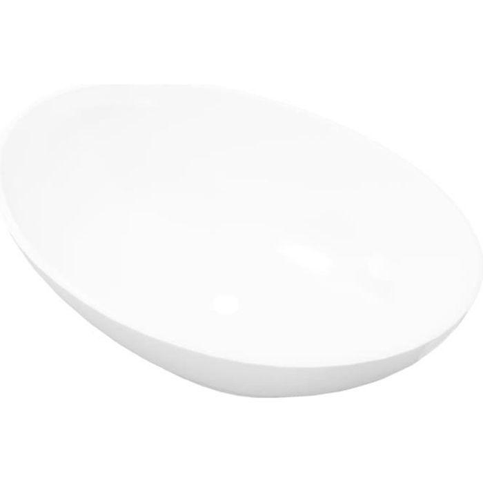 vasque a poser blanche vidaXL Lavabo en forme ovale Céramique 40 x 33 cm Blanc